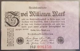 EBN6 - Germany 1923 Banknote 2 Millionen Mark Pick 103 #19J.096450 - [ 3] 1918-1933 : Repubblica  Di Weimar