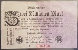 EBN6 - Germany 1923 Banknote 2 Millionen Mark Pick 103 #19J.096450 - 2 Millionen Mark