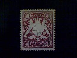 Germany (Bavaria), Scott #70, Used (o), 1900, Coat Of Arms, 50pfs, Maroon - Bavaria