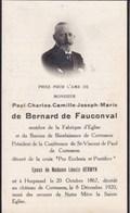 HORPMAEL CORTESSEM Paul BERNARD De FAUCONVAL 1867-1920 DP Souvenir Mortuaire - Décès