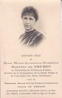 BERCHEM ANVERS Marie-Alphonsine Baronne De GRUBEN Veuve Oscar Le GRELLE 78 Ans 1940 DP Souvenir Mortuaire - Décès