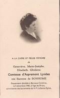 BARVAUX-CONDROZ Geneviève Comtesse D'ASPREMONT-LYNDEN 59 Ans 1948 DP Souvenir Mortuaire - Décès