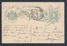 Braga. Postal Stationery Stamp 10 R  D. Carlos. Portugal. Circulated Braga 1909. Ganzsachen Marke D. Carlos. - Ganzsachen