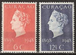 Curacao 1948 Jubileum Wilhelmina NVPH 196-197 Postfris/MNH/** - Curaçao, Nederlandse Antillen, Aruba