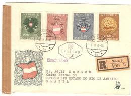 1949 LR Yv773/76 (Mi937/40) De Wien Du 17.VIII.49 (1er Jour) Pour Le Brésil - 1945-.... 2ème République