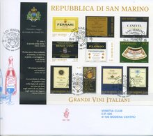 SAN MARINO - FDC VENETIA  2005 - I GRANDI VINI ITALIANI - BLOCCO - VIAGGIATA - FDC