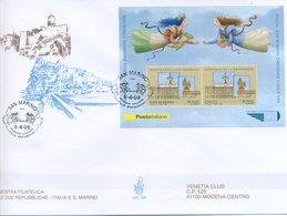 SAN MARINO - FDC VENETIA  2006 - LE DUE REPUBBLICHE - BLOCCO FOGLIETTO - VIAGGIATA - FDC