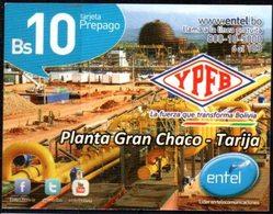 Bolivia 2013 - 31-12-2014 Prepago ENTEL. YPFB Planta Gran Chaco - Tarija. 2 Tiradas. 2 Tipos De Numeración - Oil