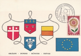 OBLIT. GF ILLUSTRÉE REMISE DRAPEAU EUROPÉEN  A LA VILLE D'ORLÉANS - 9/5/65 - Commemorative Postmarks