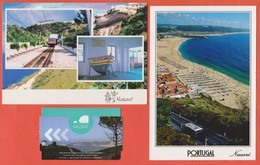 Set Of 2 Postcards And Round Trip Ticket Aller-retour NAZARÉ Funicular Station Gare De Funiculaire Tram Tramway Portugal - Leiria