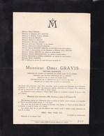 PERONNES-lez-BINCHE Omer GRAVIS Notaire Honoraire 1862-1935 - Décès