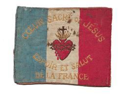 """MILITARIA...WW1.. ECUSSON En TISSU De POILU 1914-18 """" COEUR SACRE De JESUS, ESPOIR Et SALUT De La FRANCE"""" - 1914-18"""