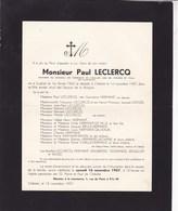 ENGHIEN Châtelet Paul LECLERCQ 1902-1957 Membre Conseil De Fabrique Faire-part Décès - Décès