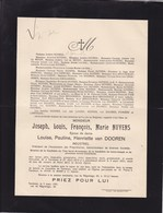 TURNHOUT Joseph Louis NUYENS époux Van DOOREN Industriel 1872-1931 - Avvisi Di Necrologio