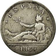 Monnaie, Espagne, Provisional Government, 2 Pesetas, 1869, Madrid, TTB, Argent - [ 1] …-1931 : Royaume