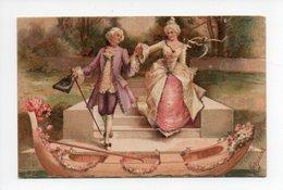 Couple: Marquis Et Marquise, Gondole, Canne, Carte Avec Paillettes, 1906 (19-58) - Couples