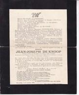 UCCLE ETTERBEEK Jean-Joseph DE KNOOP 1857-1925 Famille BORREMANS - Décès