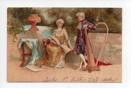 Couple: Marquis Et Marquise, Musique, Harpe, Carte Avec Paillettes, 1907 (19-60) - Couples