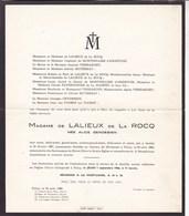 FELUY Château De MIREMONT ALice GENDEBIEN épouse De LALIEUX De LA ROCQ 1887-1966 - Décès