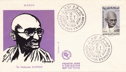 Lettre Mahatma Gandhi FDC Maroc Casablanca 1969 Mohandas Karamchand Gandhi મોહનદાસ કરમચંદ ગાંધી - Mahatma Gandhi