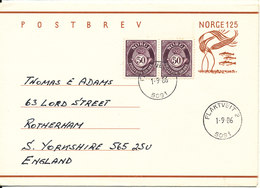 Norway Postal Stationery POSTBREV Uprated And Sent To England Flaktveit 1-9-1986 - Postal Stationery