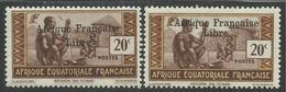AFRIQUE EQUATORIALE FRANCAISE - AEF - A.E.F. - 1941 - YT 162** - VARIETE SURCHARGE ESPACEE DE 3,5 Mm - A.E.F. (1936-1958)