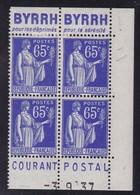 PUBLICITE: TYPE PAIX 65C BLEU 2 BANDES BYRRH-déprimés Sérénité/COURANT POSTAL NEUFS**ACCP966-1003 967-1004 C36E - Advertising
