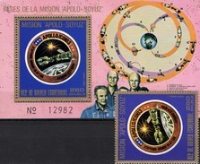 Kopplung Im All 1975 Äquatorial Guinea 623+Block 181 ** 14€ Gold USA/USSR Wappen Bloc Space Ss Flag Sheet Bf Guinee - Space