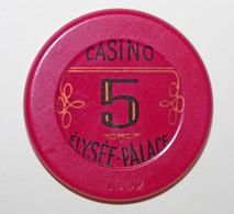 "Jeton De 5 Franc ""Casino Elysée-Palace"" Vichy - Casino French Chip Token - Casino"