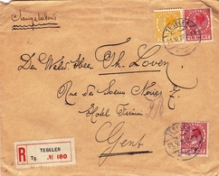 Lettre Pays Bas Tegelen 1926 Nederland Gent Gand Belgique Cachets De Cire - Periode 1891-1948 (Wilhelmina)