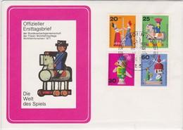 TOYS CHILDERN JOUETS ENFANTS KINDER SPIELZEUG BERLIN BRD GERMANY FDC MI 412 - 415 WOHLFAHRTSPFLEGE WELFARE CARE - Puppen