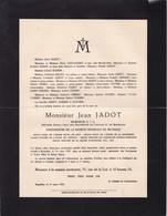 BRUXELLES IXELLES Jean JADOT Ingénieur Gouverneur Société Générale De Belgique Famille VUYLSTEKE GENART 1932 - Décès