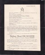 Château De FAMELETTE Marie COLLINET épouse Henri FRANCOTTE 79 Ans 1944 DALHEM HUCCORGNE - Décès