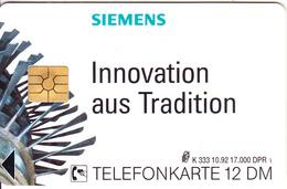GERMANY - Siemens(K 333), Tirage 17000, 10/92, Mint - Allemagne