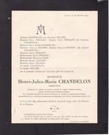 LIEGE Henri CHANDELON Ingénieur Hauts-fourneaux Et Aciéries De Rumelange-St-Ingbert 1847-1914 Famille FRESART DOCHEN - Décès