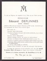 PERUWELZ Ancien Brasseur Edouard DEFLINNES 95 Ans 1966 Famille CAPART - Décès
