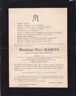 LIEGE Paul HABETS époux DUPONT 1865-1926 Charbonnage De BEERINGEN Professeur ULB Familles GOSUIN PICARD - Décès