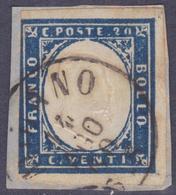ANTICHI STATI SARDEGNA 1860 / 20c Cobalto Grigio Usato  Sassone 15Cb - Sardegna