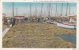 Florida Tarpon Springs A Fine Sponge Catch 1939 Curteich - Etats-Unis