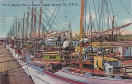 Florida Tarpon Springs Sponge Fleet In Harbor 1954 Curteich - Etats-Unis