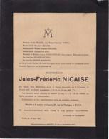 COURCELLES UCCLE Jules-Frédéric NICAISE 1867-1921 Famille MORIMONT HUBOT LECHIEN - Décès