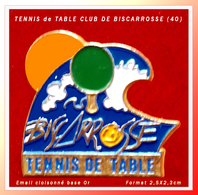 SUPER PIN'S TENNIS De TABLE : CLUB De BISCARROSSE Dans Les LANDES, émail Cloisonné Base Or, Format 2,6X2,3cm - Tennis De Table