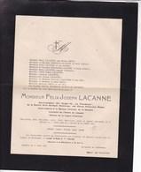 HANNUT DUDELANGE Félix LACANNE 1853-1919 Forges De La Providence Glaces Nationales Belges Famille DELHAIZE - Décès