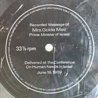 Sencillo Inglés Flexi Disc De Golda Meir Año 1969 - Vinyles