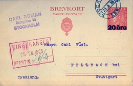 1925 , SUECIA , ENTERO POSTAL CIRCULADO , ESTOCOLMO - STUTTGART - Ganzsachen