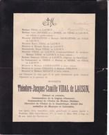 TOULOUSE Campagne Mexique Théodore VIDAL De LAUSUN 66 Ans 1903 Ordre De La Guadeloupe Médaille Mexique - Décès