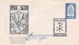 CARDENAL ANTONIO CAGGIANO. AUTROGRAPH SUR ENVELOPPE SPECIAL COVER OBLI BODAS DE ORO SACERDOTALES 1962 ORIGIANAL  - BLEUP - Autógrafos
