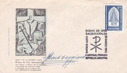 CARDENAL ANTONIO CAGGIANO. AUTROGRAPH SUR ENVELOPPE SPECIAL COVER OBLI BODAS DE ORO SACERDOTALES 1962 ORIGIANAL  - BLEUP - Autografi