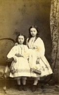 France Beauvais Fillettes Soeurs? Mode Second Empire Ancienne Photo CDV Herbert 1860's - Oud (voor 1900)