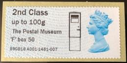 GB Post & Go - The Postal Museum F Type Postbox Overprint - 2nd Class / 100g - MA15 Date Code MNH - Grande-Bretagne
